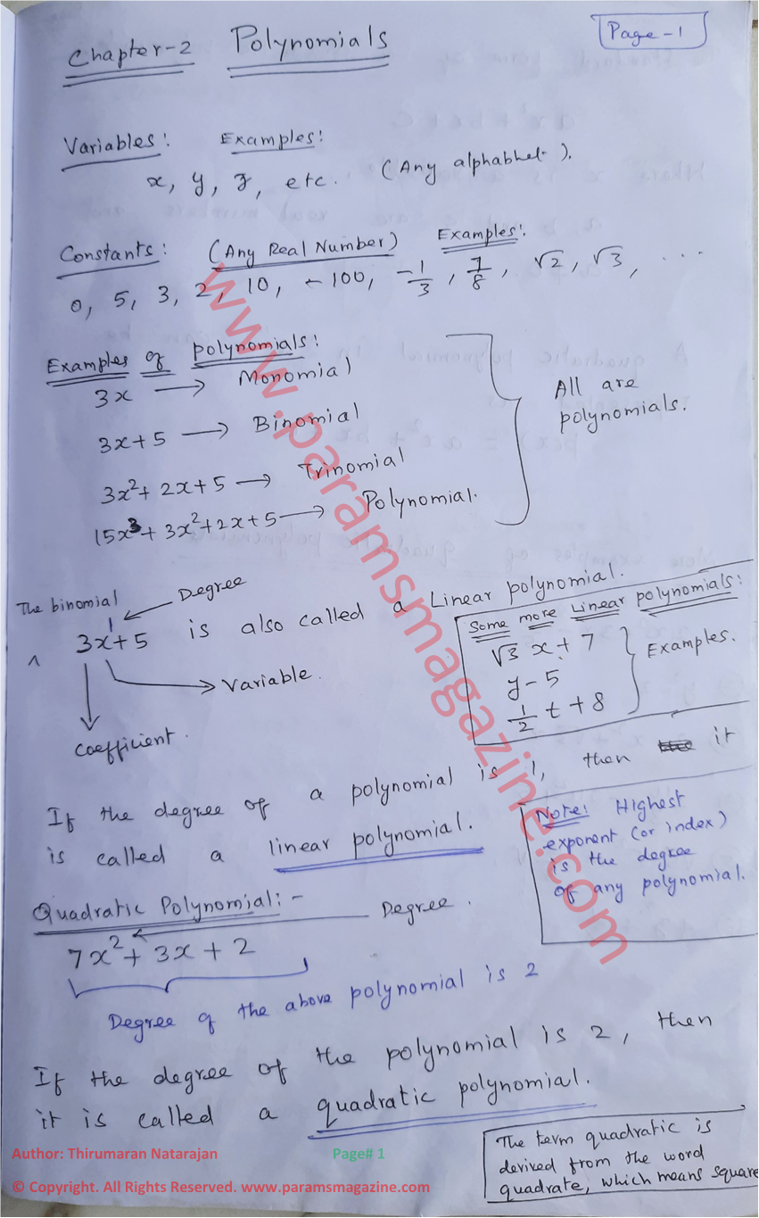 Polynomials - Notes - Page-1